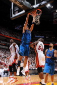 Shawn Marion of the Dallas Mavericks dunks against Joel Anthony of the Miami Heat during Game One of the 2011 NBA Finals on May 31 2011 at the...