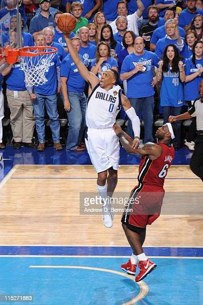 Shawn Marion of the Dallas Mavericks dunks against LeBron James of the Miami Heat during Game Three of the 2011 NBA Finals against the on June 5 2011...