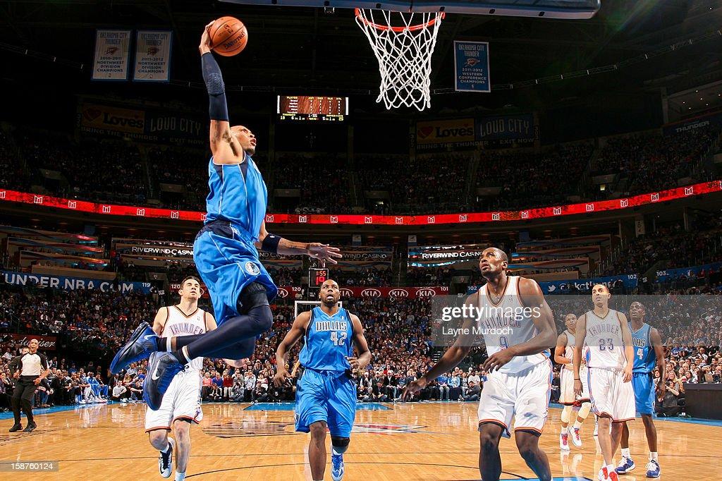 Shawn Marion #0 of the Dallas Mavericks dunks against the Oklahoma City Thunder on December 27, 2012 at the Chesapeake Energy Arena in Oklahoma City, Oklahoma.