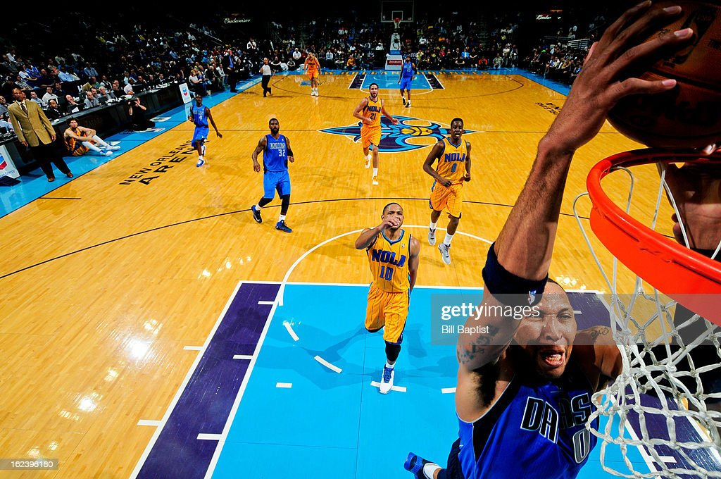 <a gi-track='captionPersonalityLinkClicked' href=/galleries/search?phrase=Shawn+Marion&family=editorial&specificpeople=201566 ng-click='$event.stopPropagation()'>Shawn Marion</a> #0 of the Dallas Mavericks dunks on a fast break against the New Orleans Hornets on February 22, 2013 at the New Orleans Arena in New Orleans, Louisiana.