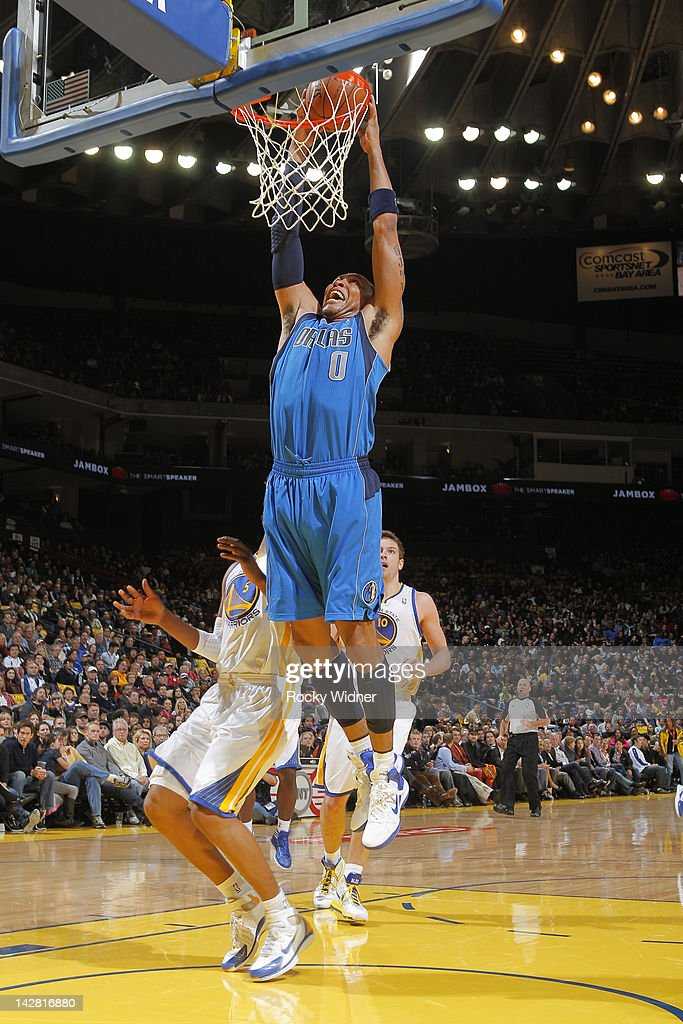 <a gi-track='captionPersonalityLinkClicked' href=/galleries/search?phrase=Shawn+Marion&family=editorial&specificpeople=201566 ng-click='$event.stopPropagation()'>Shawn Marion</a> #0 of the Dallas Mavericks dunks the ball against the Golden State Warriors on April 12, 2012 at Oracle Arena in Oakland, California.