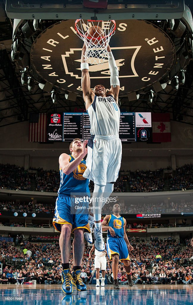 Shawn Marion #0 of the Dallas Mavericks dunks the ball against the Golden State Warriors on February 9, 2013 at the American Airlines Center in Dallas, Texas.