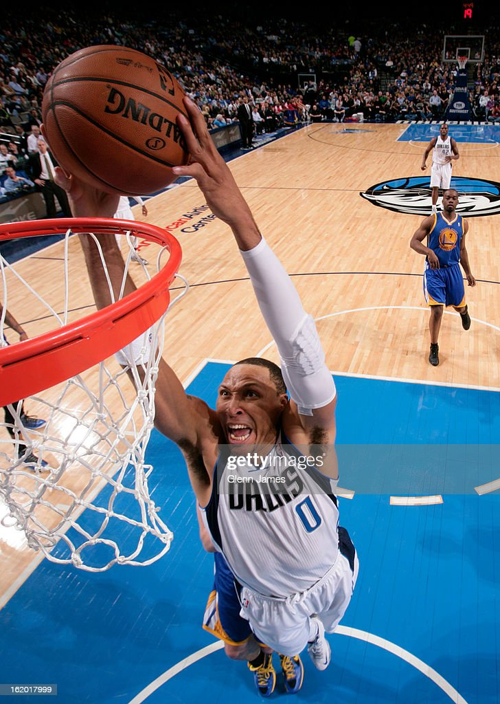 <a gi-track='captionPersonalityLinkClicked' href=/galleries/search?phrase=Shawn+Marion&family=editorial&specificpeople=201566 ng-click='$event.stopPropagation()'>Shawn Marion</a> #0 of the Dallas Mavericks dunks the ball against the Golden State Warriors on February 9, 2013 at the American Airlines Center in Dallas, Texas.