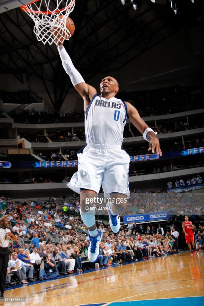<a gi-track='captionPersonalityLinkClicked' href=/galleries/search?phrase=Shawn+Marion&family=editorial&specificpeople=201566 ng-click='$event.stopPropagation()'>Shawn Marion</a> #0 of the Dallas Mavericks flies in for the dunk against the Houston Rockets on October 15, 2012 at the American Airlines Center in Dallas, Texas.