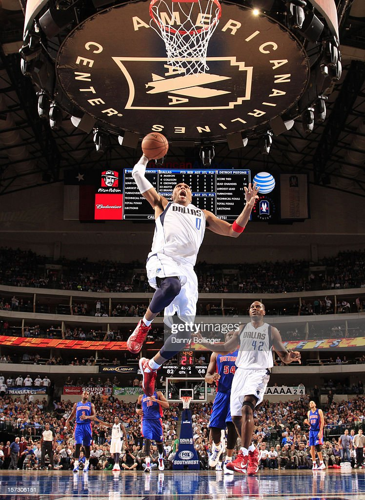 <a gi-track='captionPersonalityLinkClicked' href=/galleries/search?phrase=Shawn+Marion&family=editorial&specificpeople=201566 ng-click='$event.stopPropagation()'>Shawn Marion</a> #0 of the Dallas Mavericks flies in for the dunk against the Detroit Pistons on December 1, 2012 at the American Airlines Center in Dallas, Texas.