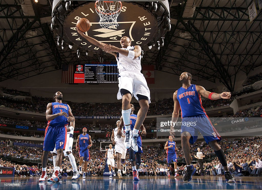 <a gi-track='captionPersonalityLinkClicked' href=/galleries/search?phrase=Shawn+Marion&family=editorial&specificpeople=201566 ng-click='$event.stopPropagation()'>Shawn Marion</a> #0 of the Dallas Mavericks goes up and under against <a gi-track='captionPersonalityLinkClicked' href=/galleries/search?phrase=Ben+Gordon&family=editorial&specificpeople=202181 ng-click='$event.stopPropagation()'>Ben Gordon</a> #7 and <a gi-track='captionPersonalityLinkClicked' href=/galleries/search?phrase=Tracy+McGrady&family=editorial&specificpeople=201486 ng-click='$event.stopPropagation()'>Tracy McGrady</a> #1 of the Detroit Pistons during a game on November 23, 2010 at the American Airlines Center in Dallas, Texas.
