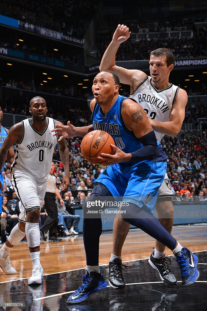 Shawn Marion #0 of the Dallas Mavericks goes up for a shot against the Brooklyn Nets on March 1, 2013 at the Barclays Center in Brooklyn, New York.