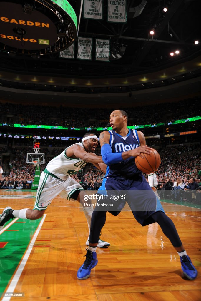 Shawn Marion #0 of the Dallas Mavericks looks to drive to the basket Boston Celtics on December 12, 2012 at the TD Garden in Boston, Massachusetts.