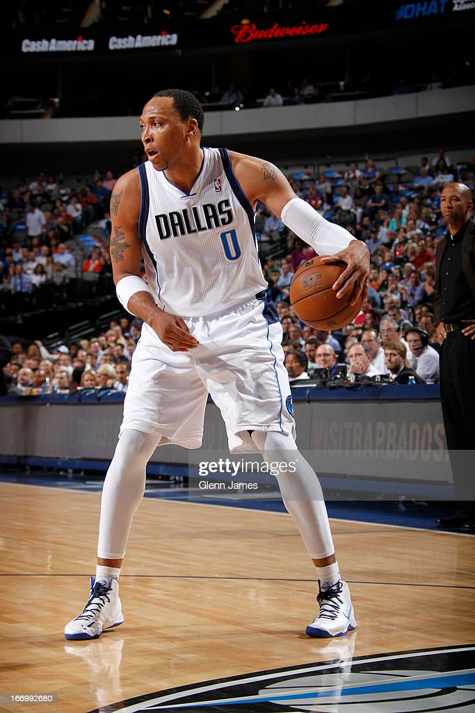 Shawn Marion #0 of the Dallas Mavericks looks to drive to the basket against the New Orleans Hornets on April 17, 2013 at the American Airlines Center in Dallas, Texas.