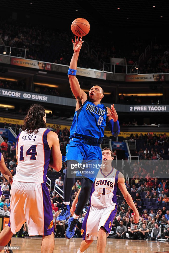 <a gi-track='captionPersonalityLinkClicked' href=/galleries/search?phrase=Shawn+Marion&family=editorial&specificpeople=201566 ng-click='$event.stopPropagation()'>Shawn Marion</a> #0 of the Dallas Mavericks puts up a shot against the Phoenix Suns on February 1, 2013 at U.S. Airways Center in Phoenix, Arizona.