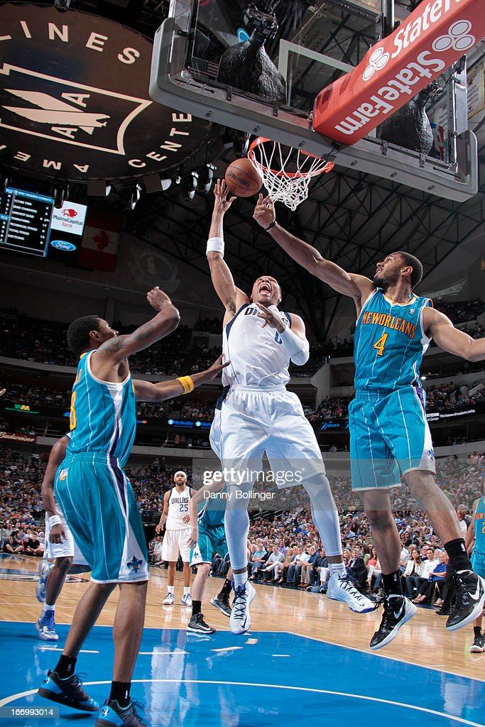 <a gi-track='captionPersonalityLinkClicked' href=/galleries/search?phrase=Shawn+Marion&family=editorial&specificpeople=201566 ng-click='$event.stopPropagation()'>Shawn Marion</a> #0 of the Dallas Mavericks puts up shot against the New Orleans Hornets on April 17, 2013 at the American Airlines Center in Dallas, Texas.