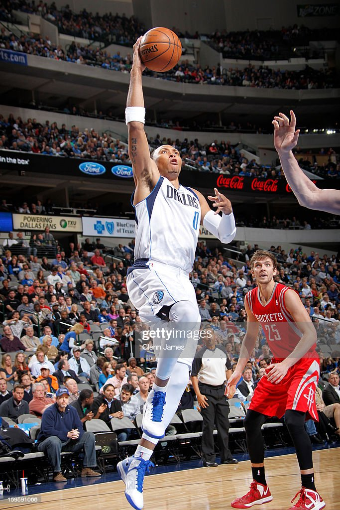 Shawn Marion #0 of the Dallas Mavericks puts up the floater against the Houston Rockets on January 16, 2013 at the American Airlines Center in Dallas, Texas.