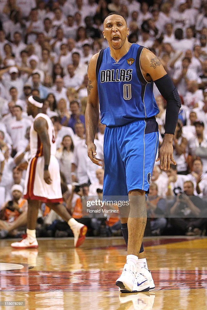 Shawn Marion of the Dallas Mavericks reacts against LeBron James of the Miami Heat in Game Two of the 2011 NBA Finals at American Airlines Arena on...