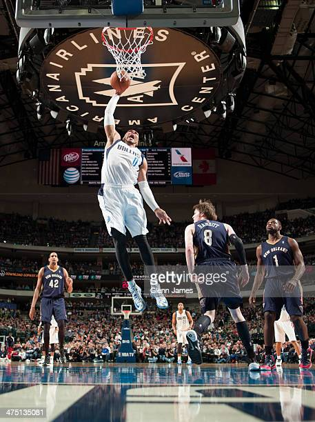 Shawn Marion of the Dallas Mavericks rises for a dunk against Luke Babbitt of the New Orleans Pelicans on February 26 2014 at the American Airlines...