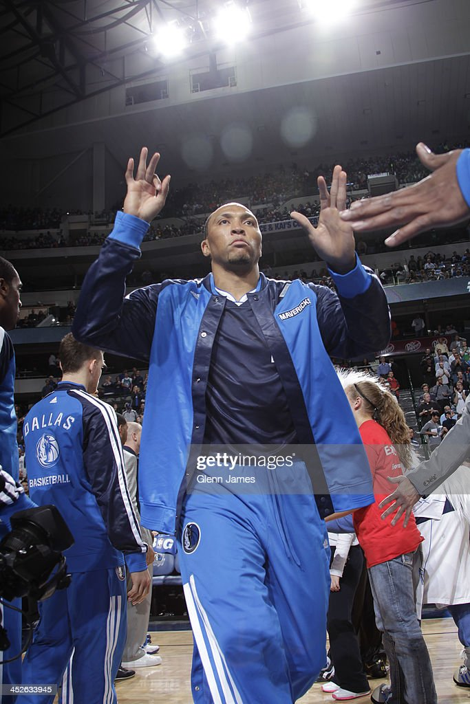 <a gi-track='captionPersonalityLinkClicked' href=/galleries/search?phrase=Shawn+Marion&family=editorial&specificpeople=201566 ng-click='$event.stopPropagation()'>Shawn Marion</a> #0 of the Dallas Mavericks runs out before the game against the Houston Rockets on November 20, 2013 at the American Airlines Center in Dallas, Texas.