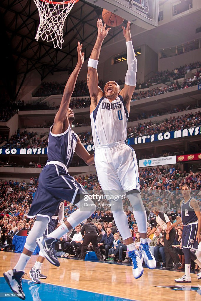 Shawn Marion #0 of the Dallas Mavericks shoots a layup against Kevin Durant #35 of the Oklahoma City Thunder on January 18, 2013 at the American Airlines Center in Dallas, Texas.