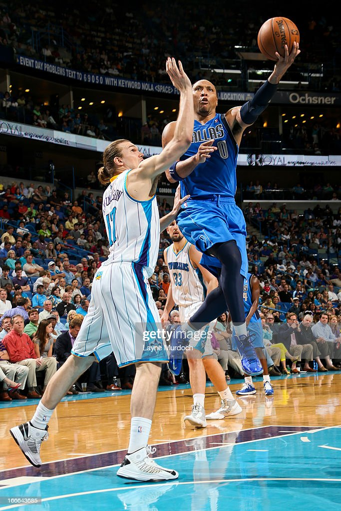 Shawn Marion #0 of the Dallas Mavericks shoots a layup against Lou Amundson #17 of the New Orleans Hornets on April 14, 2013 at the New Orleans Arena in New Orleans, Louisiana.