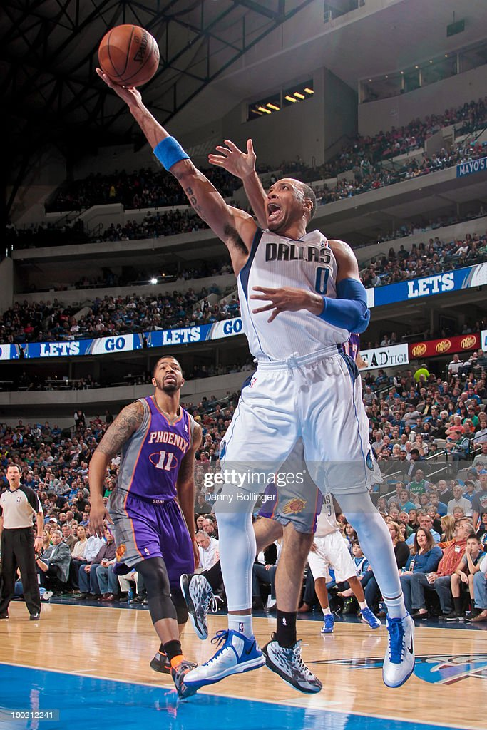 <a gi-track='captionPersonalityLinkClicked' href=/galleries/search?phrase=Shawn+Marion&family=editorial&specificpeople=201566 ng-click='$event.stopPropagation()'>Shawn Marion</a> #0 of the Dallas Mavericks shoots a layup against the Phoenix Suns on January 27, 2013 at the American Airlines Center in Dallas, Texas.