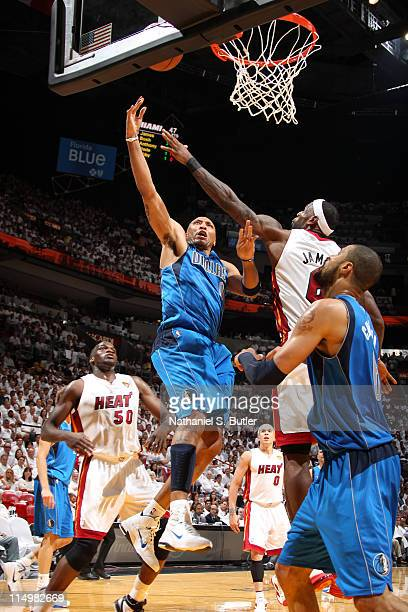 Shawn Marion of the Dallas Mavericks shoots against LeBron James of the Miami Heat during Game One of the 2011 NBA Finals on May 31 2011 at the...