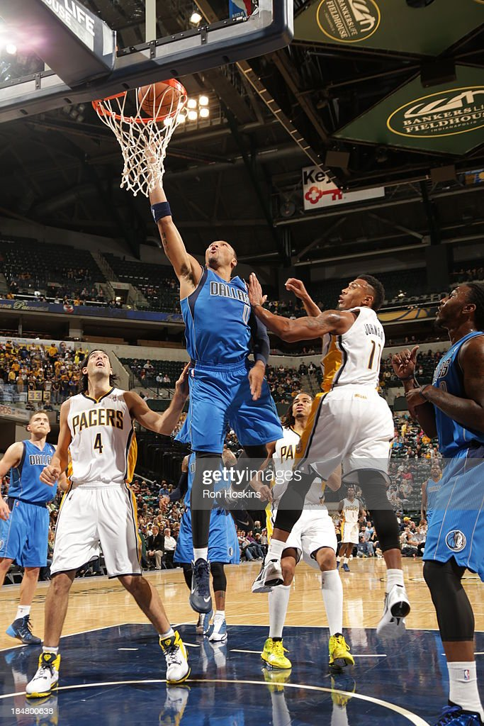 <a gi-track='captionPersonalityLinkClicked' href=/galleries/search?phrase=Shawn+Marion&family=editorial&specificpeople=201566 ng-click='$event.stopPropagation()'>Shawn Marion</a> #0 of the Dallas Mavericks shoots against the Indiana Pacers at Bankers Life Fieldhouse on October 16, 2013 in Indianapolis, Indiana.