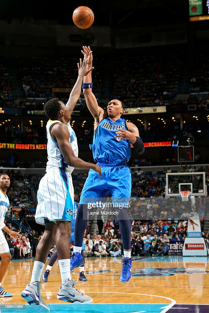 Shawn Marion #0 of the Dallas Mavericks shoots in the lane against Al-Farouq Aminu #0 of the New Orleans Hornets on April 14, 2013 at the New Orleans Arena in New Orleans, Louisiana.