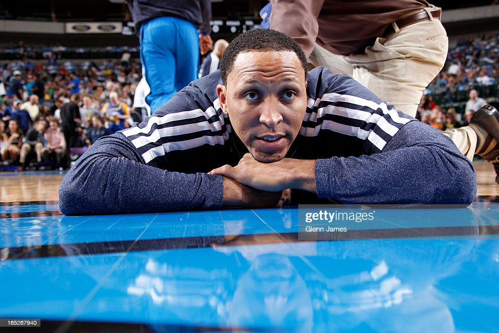 <a gi-track='captionPersonalityLinkClicked' href=/galleries/search?phrase=Shawn+Marion&family=editorial&specificpeople=201566 ng-click='$event.stopPropagation()'>Shawn Marion</a> #0 of the Dallas Mavericks stretches before the game against the Indiana Pacers on March 28, 2013 at the American Airlines Center in Dallas, Texas.