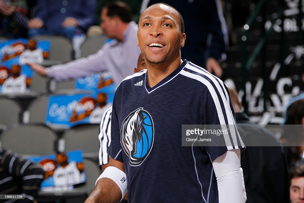 Shawn Marion #0 of the Dallas Mavericks warms up before the game against the Minnesota Timberwolves on January 14, 2013 at the American Airlines Center in Dallas, Texas.