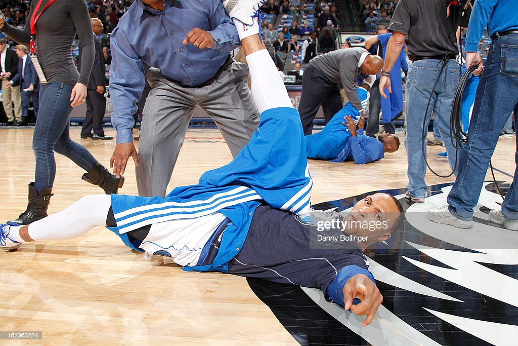 <a gi-track='captionPersonalityLinkClicked' href=/galleries/search?phrase=Shawn+Marion&family=editorial&specificpeople=201566 ng-click='$event.stopPropagation()'>Shawn Marion</a> #0 of the Dallas Mavericks warms up before the game against the Orlando Magic on February 20, 2013 at the American Airlines Center in Dallas, Texas.