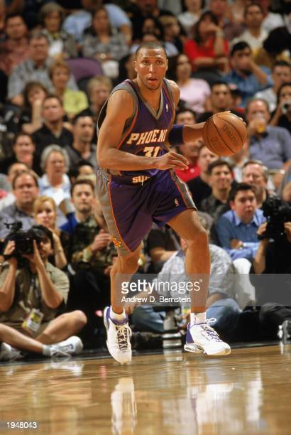 Shawn Marion of the Phoenix Suns drives the ball up court against the San Antonio Spurs in Game one of the Western Conference Quarterfinals during...