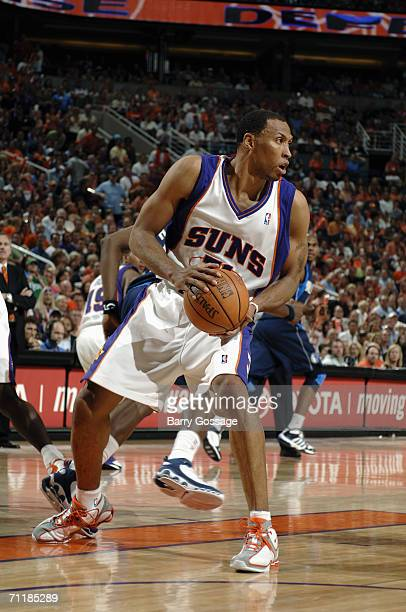 Shawn Marion of the Phoenix Suns holds the ball against the Dallas Mavericks in game four of the Western Conference Finals during the 2006 NBA...
