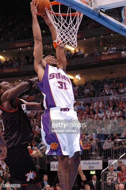 Shawn Marion of the Phoenix Suns takes the rebound with some authority during the NBA Europe Live Tour presented by EA Sports at the Koeln Arena in...