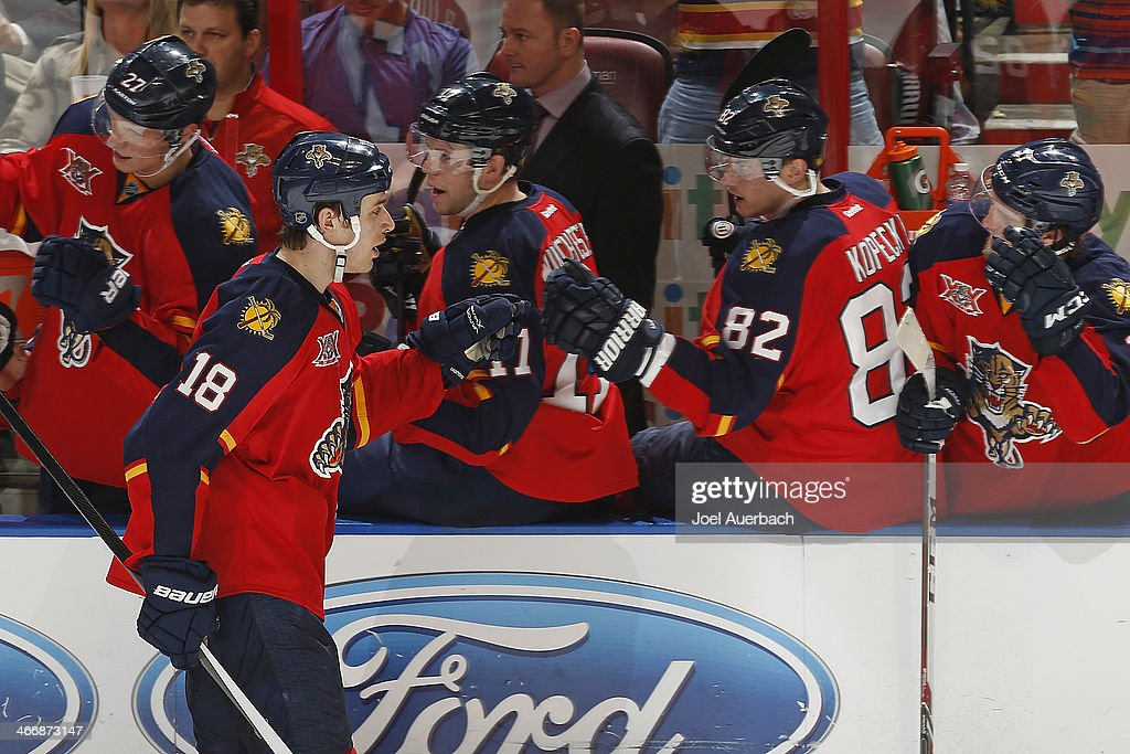 Shawn Matthias #18 of the Florida Panthers is congratulated by teammates after scoring a third-period goal against the Toronto Maple Leafs at the BB&T Center on February 4, 2014 in Sunrise, Florida. The Panthers defeated the Maple Leafs 4-1.