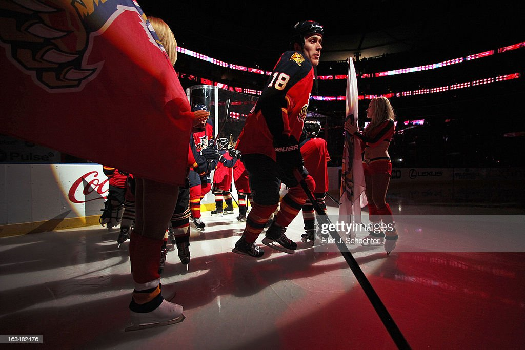 Shawn Matthias #18 of the Florida Panthers makes his way out to the ice prior to the start of the game against the Montreal Canadiens at the BB&T Center on March 10, 2013 in Sunrise, Florida.
