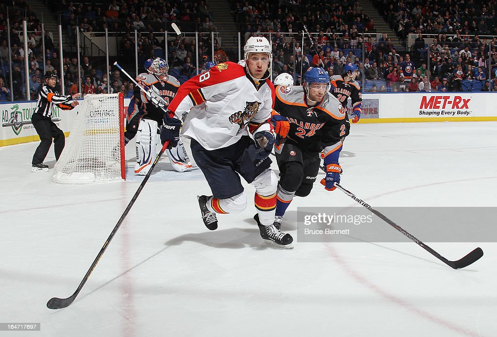 Shawn Matthias #18 of the Florida Panthers skates against the New York Islanders at the Nassau Veterans Memorial Coliseum on March 24, 2013 in Uniondale, New York.