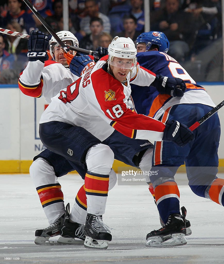Shawn Matthias #18 of the Florida Panthers skates against the New York Islanders at the Nassau Veterans Memorial Coliseum on April 16, 2013 in Uniondale, New York. The Islanders defeated the Panthers 5-2.