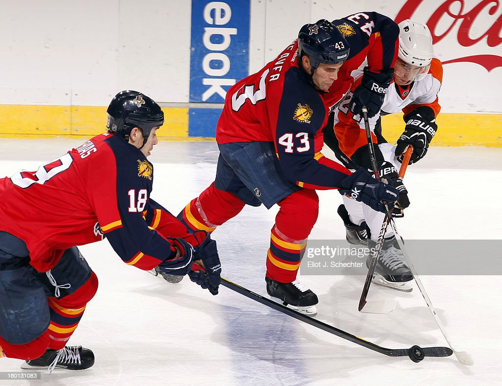 Shawn Matthias #18 of the Florida Panthers skates for possession while teammate Mike Weaver #43 crosses sticks with <a gi-track='captionPersonalityLinkClicked' href=/galleries/search?phrase=Matt+Read&family=editorial&specificpeople=6783206 ng-click='$event.stopPropagation()'>Matt Read</a> #24 of the Philadelphia Flyers at the BB&T Center on January 26, 2013 in Sunrise, Florida.
