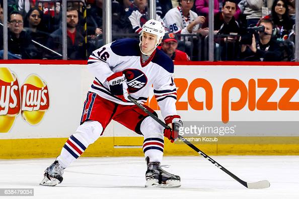 Shawn Matthias of the Winnipeg Jets keeps an eye on the play during second period action against the Calgary Flames at the MTS Centre on January 9...
