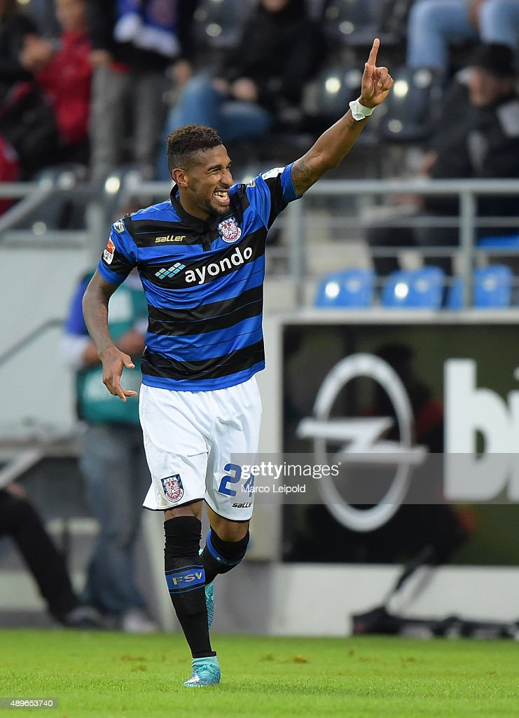 Shawn Maurice Barry of FSV Frankfurt celebrates after scoring the 21 during the match between FSV Frankfurt and Union Berlin on September 23 2015 in...