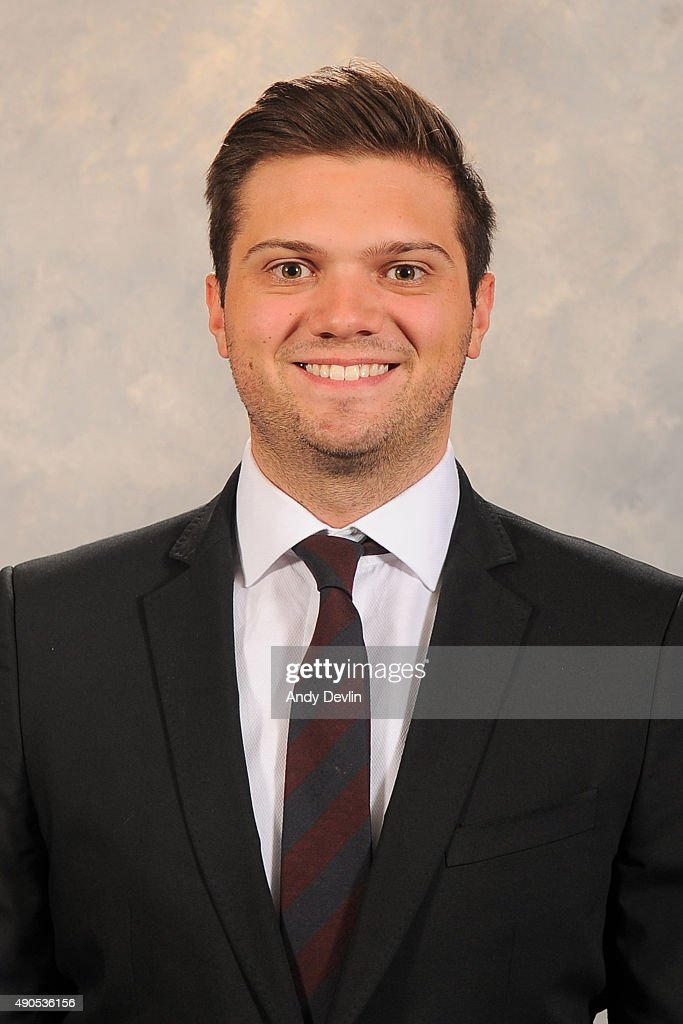Shawn May of the Edmonton Oilers poses for his official headshot for the 2015-2016 season on September 17, 2015 at the Rexall Place in Edmonton, Alberta, Canada.