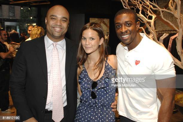 Shawn McDonald Allie Rizzo and Naeem Delbridge attend Hugo Boss New York Girl Style Shop Style event at Hugo Boss on May 25 2010 in New York City