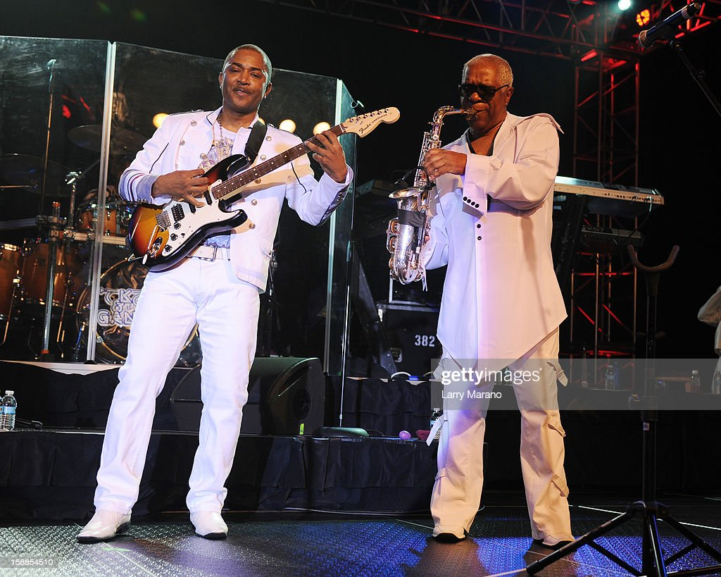 Shawn McQuiller and Dennis Thomas of Kool & The Gang perform at Seminole Casino Coconut Creek on December 31, 2012 in Coconut Creek, Florida.