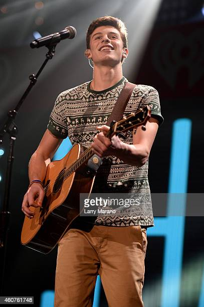 Shawn Mendes performs at Y100's Jingle Ball Village Y100's Jingle Ball 2014 official preshow at BBT Center on December 21 2014 in Miami FL