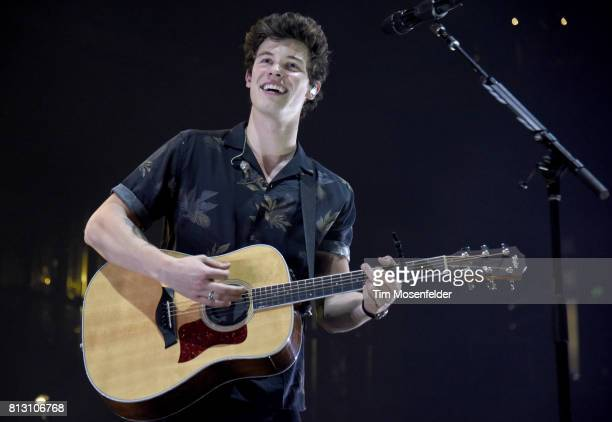 Shawn Mendes performs during his 'Illuminate World Tour' at ORACLE Arena on July 11 2017 in Oakland California