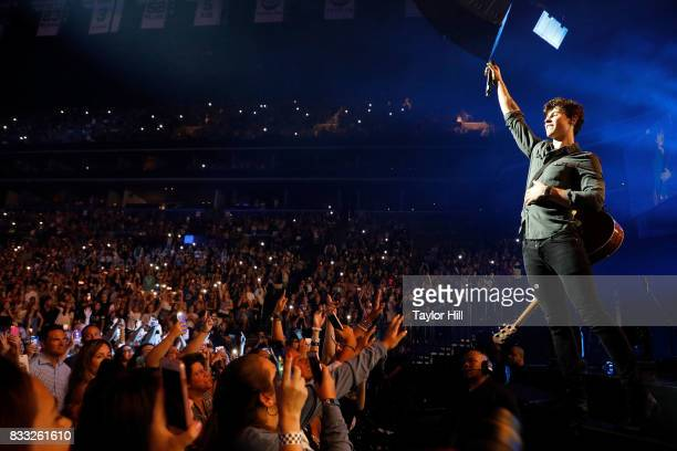 Shawn Mendes performs during the 'Illuminate' tour at Barclays Center on August 16 2017 in the Brooklyn borough of New York City