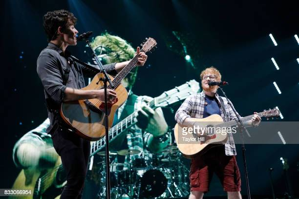 Shawn Mendes performs 'Mercy' with Ed Sheeran during the Illuminate Tour at Barclays Center of Brooklyn on August 16 2017 in the Brooklyn borough of...