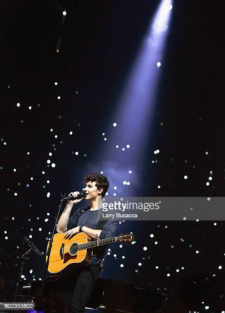 Shawn Mendes performs on stage at Madison Square Garden on September 10 2016 in New York City