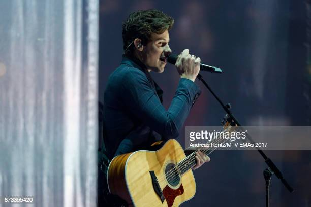 Shawn Mendes sings on stage during the MTV EMAs 2017 held at The SSE Arena Wembley on November 12 2017 in London England