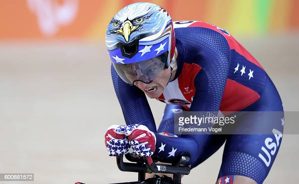 Shawn Morelli of the USA competes in the women's C4 3000m individual pursuit track cycling on day 1 of the Rio 2016 Paralympic Games at the Olympic...