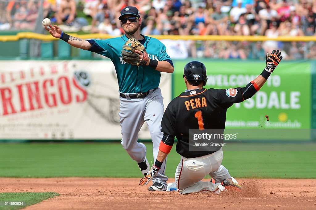 Shawn O'Malley of the Seattle Mariners turns the double play over the sliding Ramiro Pena of the San Francisco Giants in the third inning at...