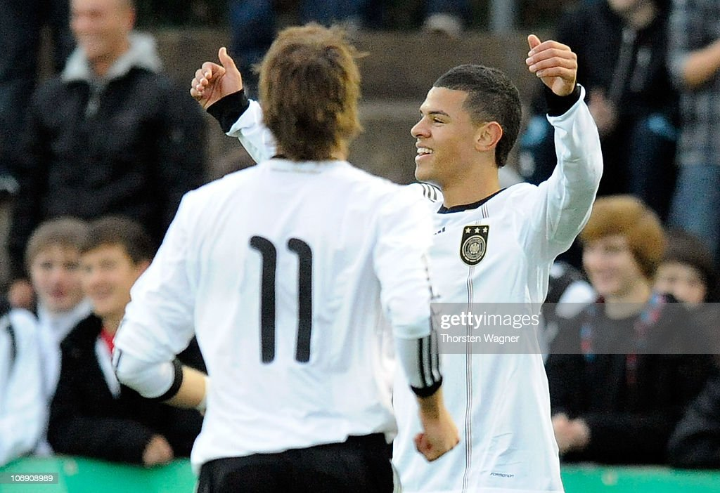 <a gi-track='captionPersonalityLinkClicked' href=/galleries/search?phrase=Shawn+Parker+-+Soccer+Player&family=editorial&specificpeople=5385069 ng-click='$event.stopPropagation()'>Shawn Parker</a> of Germany celebrates after scoring his teams first goal during the international friendly match between Germany and Turkey at stadium Am Hessenhaus on November 16, 2010 in Bingen, Germany.